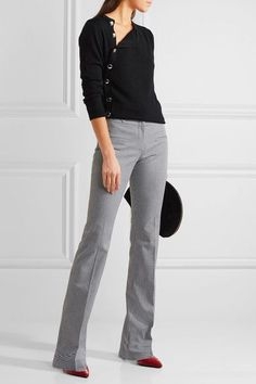 Altuzarra - Serge Houndstooth Stretch-cotton Flared Pants - Black - FR