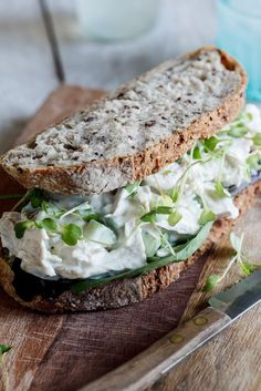 Chicken salad sandwich. A slight creamy throwback to a healthier version of Waldorf with Greek yogurt instead of mayo.