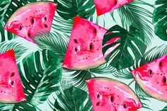 Watermelons,tropical leaves pattern  @creativework247