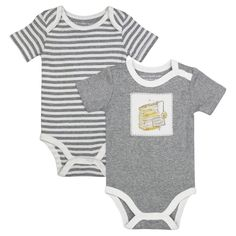 Burt's Bees Baby Organic 2 Pack Fresh Honey Bodysuits - Heather Gray 0-3M, Infant Unisex, Size: 0-3 M