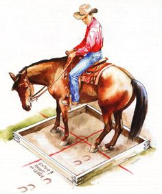 The box turn is a very advanced obstacle that can help you train your horse to make cleaner turns in a trail course. Jean Abernethy illustration.