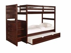Ranch cappuccino Chest End Step Twin/twin Bunk Bed With Twin Trundle Youth Beds/Bunks - Powell 396-0