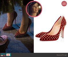 Zoe's red studded pumps on Hart of Dixie.  Outfit Details: http://wornontv.net/47315/ #HartofDixie