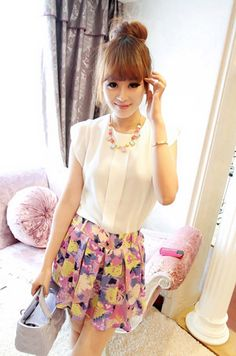 Wholesale Sweet High-Low Hem Fly Sleeve Solid Color Chiffon Blouse For Women (WHITE,ONE SIZE), Blouses - Rosewholesale.com