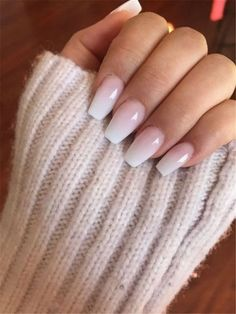 French Fade With Nude And White Ombre Acrylic Nails Coffin Nails – Cute Nails Ombre Nail Designs, Colorful Nail Designs, Acrylic Nail Designs, Acrylic Art, Nail Art Designs, Neutral Nail Designs, Silver Nail Designs, Bride Nails, Prom Nails
