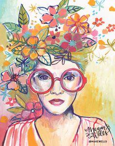 Makewells is an art studio run by artist Megan Wells. Watercolor Portrait Painting, Cow Painting, Watercolor Art, Art Prints Quotes, Fine Art Prints, The Dreamers, Collages, Cow Pictures, Star Art