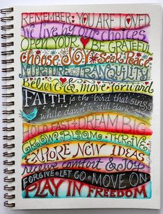 Keep creativity alive. Play with colors, wavy lines & lettering. Lettering examples for your journal or Smash Book here. Art Journal Pages, Journal D'art, Wreck This Journal, Creative Journal, Art Journals, Journal Challenge, Art Journal Prompts, Visual Journals, Journal Ideas Smash Book