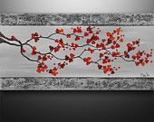 Abstract Painting Art Original Acrylic Landscape Tree Asian Blossom Zen by Gabriela 48x24 Large Painting Abstract