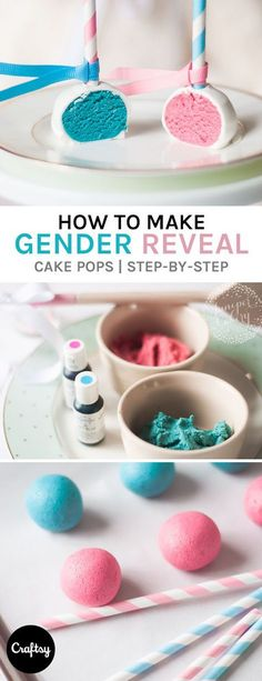 Learn how to make cute & easy gender reveal cake pops. A pink or blue interior reveals if the baby will be a he or a she! Get the free tutorial on Craftsy. https://www.craftsy.com/blog/2015/11/gender-reveal-cake-pops/?cr_linkid=Pinterest_Cake_OP_BLOG_DIYBaby&cr_maid=89991&regMessageId=21&cr_source=Pinterest&cr_medium=Social%20Engagement