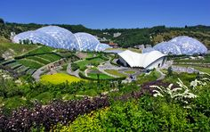 The Eden Project. Located in St Blazey, Cornwall, UK. Artificial biomes filled with plants from around the world. Geodesic Dome Greenhouse, Large Greenhouse, Build A Greenhouse, Eden Project, Trout Farm, Geothermal Energy, Biomes, Days Out, Landscape Architecture