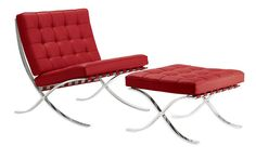 Barcelona Chair and Stool in red | Mies Van der Rohe