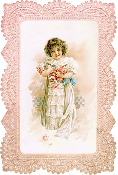 Rose Girl in Pink Lace Frame