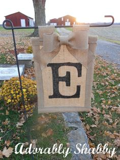 Personalized Burlap Flag with Burlap Bow- Double Sided