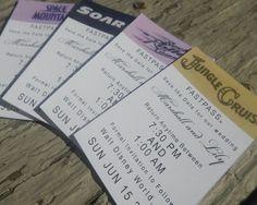 Kellie Cecilia Prints -- custom retro Disney fast pass Save the Date invitations!