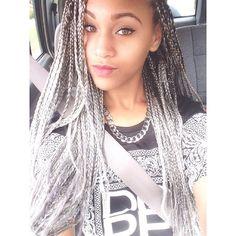 Grey box braids via miccheckk12's photo on Instagram