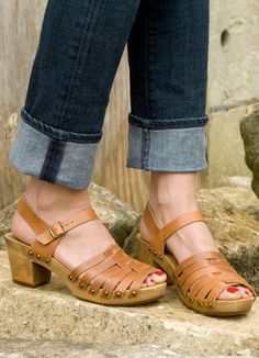Karmen Tan leather wooden sandals
