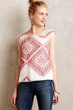 Stitched Silk Shell - Love this look. Anthropologie Clothing, Anthropologie Sale, Blouse Outfit, Pulls, Spring Summer Fashion, Dress To Impress, What To Wear, Cute Outfits, Style Inspiration