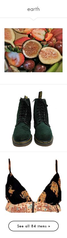 """""""earth"""" by grime ❤ liked on Polyvore featuring pictures, images, food, pics, backgrounds, shoes, boots, black military boots, velvet combat boots and black low heel boots"""
