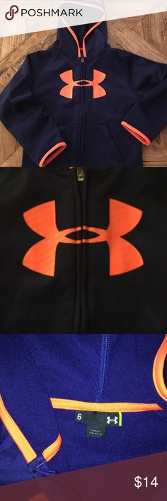 Under Armour hooded zip up Worn once! Navy with orange trim. Lined. Super cool. Under Armour Shirts & Tops Sweatshirts & Hoodies