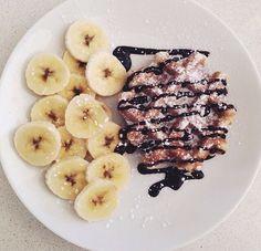 Pinterest | Food: Ideas on Breakfast and Morning Essentials-waffles, bananas, chocolate, breakfast, healthy breakfast, morning start, food, 2018, advertising
