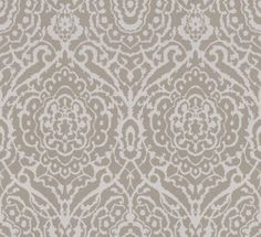 Mina (WT1007/091) - Soleil Bleu Wallpapers - An all over damask design wallpaper, shown with a white design and a gold shimmer effect background. Wide width roll.  Please request a sample for true colour match. This is a paste the wall product.