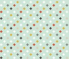 mod mint plus with red half scale fabric by mrshervi on Spoonflower - custom fabric