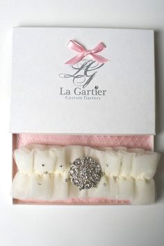 The Gracie garter inside of the signature La Gartier box.  Now available for purchase on the website at www.lagartier.com