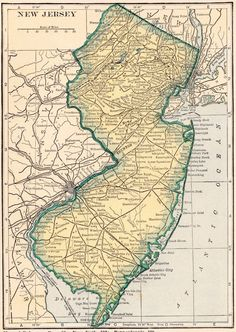 New Jersey Lakes And Rivers Map School Research Pinterest - Us map of lakes and rivers