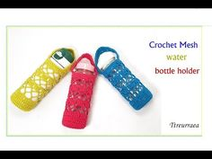 crochet bottle cover/Patterns and English subtitles provided Crochet Box, Crochet Hooks, Knit Crochet, Crochet Clutch Bags, Water Bottle Holders, Bottle Cover, Tote Purse, Creations, Crochet Patterns