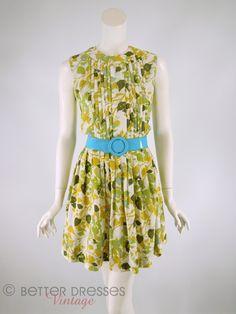 Vintage 1960s Nylon Day Dress in Green Botanical Leaf Print- sm by Better Dresses Vintage