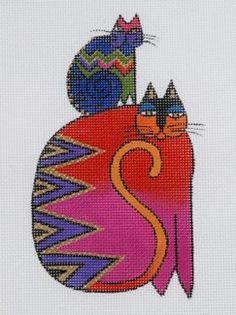Image Detail for - Laurel Burch Piggyback Cats Needlepoint Canvas