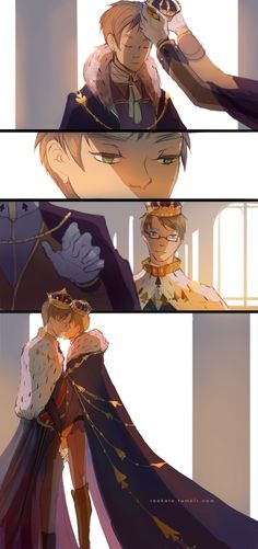 vows by ~hakuku on deviantART- It kind of makes me think of Cardverse. I don't ship UsUk but the artwork in this strip is excellent. Spamano, Usuk, Hetalia Fanart, Hetalia Cosplay, Hetalia England, Hetalia America, Captive Prince, Hetalia Axis Powers, Queen