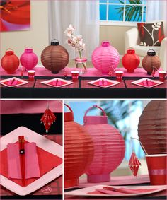 Asian themed party Could we make the red and white lanterns look like these?