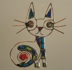 Stained glass cat by Hamid Emami, Austin, TX, USA