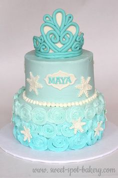 Elegant Frozen cake | Disney Frozen princess birthday cake