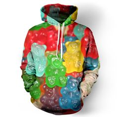 "belovedwear® presents the #Gummybear Hoodie. This ""all over"" print crewneck…"