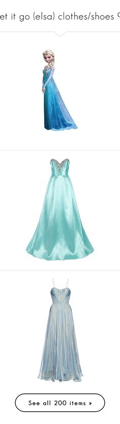 """let it go (elsa) clothes/shoes 9"" by srta-sr ❤ liked on Polyvore featuring smrfrozen, disney, frozen, backgrounds, elsa, art, dresses, gowns, gown and blue maxi skirt"