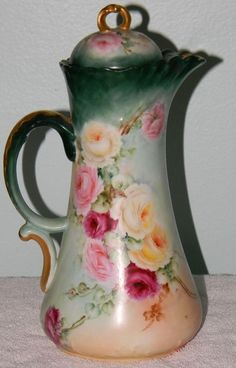 Antique Limoges Porcelain Chocolate Coffee Pot Hand Painted Roses JPL France VTG DO YOUR PART IN KEEPING OUR WORLD CLEAN, THINK GREEN BUY VINTAGE ! HELLO, LADIES AND GENTLEMEN, WELCOME TO MY AUCTION.