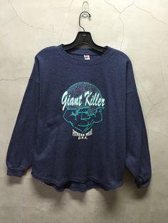 vintage t shirt 80s blue Giant Killer GK by imtryingtofocus