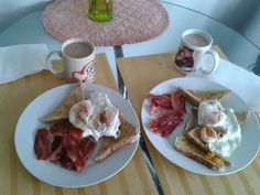 poached eggs bacon, breakfast at home Upper Hutt