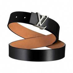 251d1280bb66 Women Louis Vuitton LV Initiales Glazed Leather Belt-Black Louis Vuitton LV-M6901W
