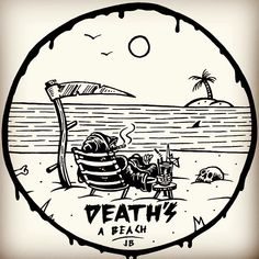 Death reaps the rewards of a long and hot days work. Take it easy big guy #beach…