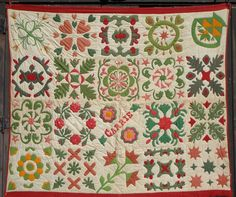 """Dated 1871 Signature Album Quilt Bold with name """"Carrie"""" appliqued on quilt.  Other names: Mary Palmer, Libbie Preston, Hanna Dulton, quilt from central Massachusetts; 72"""" x 84"""""""