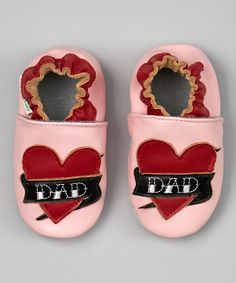 Love this MOMO Baby Pink & Red 'Dad' Heart Booties by MOMO Baby on #zulily! #zulilyfinds