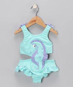 Aqua Seahorse Sunsuit - Toddler & Girls
