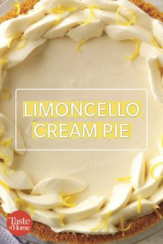 After a big Christmas dinner, we love the cool refreshment of a frozen lemon pie. Limoncello brings a little sophistication to each smooth, creamy slice. Lemon Dessert Recipes, No Bake Desserts, Easy Desserts, Baking Recipes, Delicious Desserts, Limoncello Recipe, Lemon Cream Pies, Holiday Pies, Pie Dessert