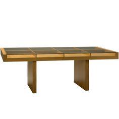 Tavolo Zero Morelato Tavolo fisso con struttura in legno di ciliegio e piano in cristallo appoggiato su di un vano portaoggetti. Finitura: F30. Design Centro Ricerche MAAM Misure: L 214 P 100 H 77