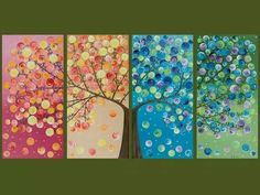 "Large Abstract Landscape Art four seasons Canvas Tree Painting Office Wall Decor Days of Happiness"" by qiqigallery Abstract Landscape, Landscape Paintings, Painting Abstract, Large Painting, Tree Paintings, Knife Painting, Painting Canvas, Grand Art Mural, Original Artwork"