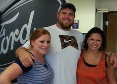 NFL Center for the New York Giants J.D. Walton being swooned over by Traci Biner and Luz White at Pruitt Ford in Burkburnett, Tx. www.pruittford.com www.pruittford.net