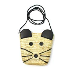 Cute Mouse Mice Face Shaped Straw Woven Cross Body Summer Beach Bag for Women $13.99 #mouse #animals #bags #fashion #chic